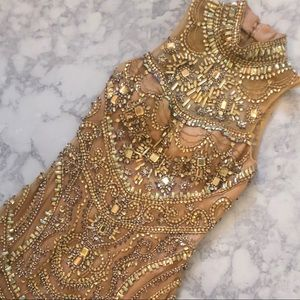 Gold Beaded Cocktail Homecoming Dress Tony Bowls